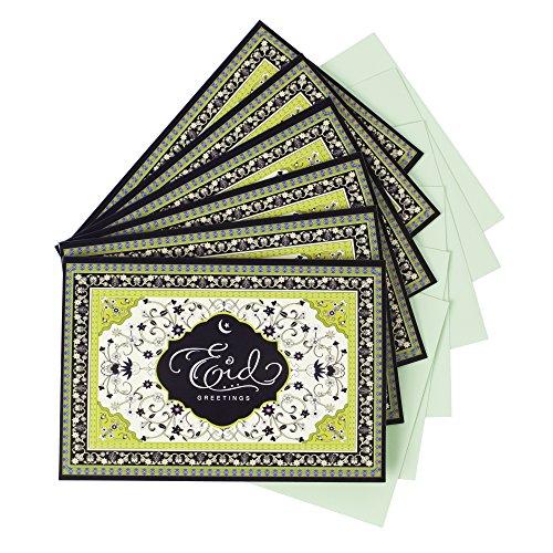 Hallmark Pack of Eid al-Fitr or Eid Al-Adha Cards, Eid Greetings (6 Cards with Envelopes)