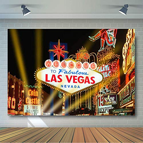 COMOPHOTO Las Vegas Photo Backdrop City Night Casino Party Banner Decoration Photography Background for Pictures 7x5ft Vinyl Printing Photo Backdrop -