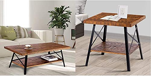 Olee Sleep 46 Cocktail Wood Metal Legs Coffee Table, Rustic Brown 24 Solid Wood Dura Metal Legs End Table, Rustic Brown