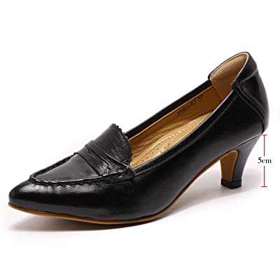 Mona flying Women's Leather Pumps Dress Shoes High Heels Med Heel Pointed Toe Formal Office Shoes for Women Ladies | Pumps