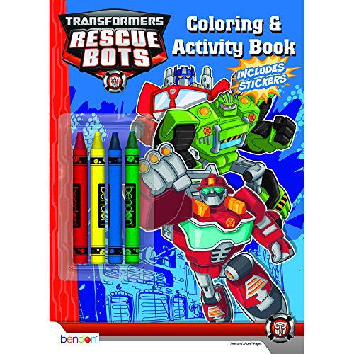 Bendon Transformers Rescue Bots Coloring and Activity Book with Crayons, 32 Pages (40921) High Boulder
