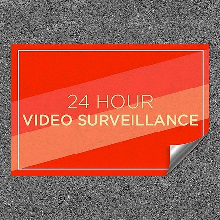CGSignLab |''24 Hour Video Surveillance -Modern Diagonal'' Heavy-Duty Industrial Self-Adhesive Aluminum Wall Decal | 36''x24''