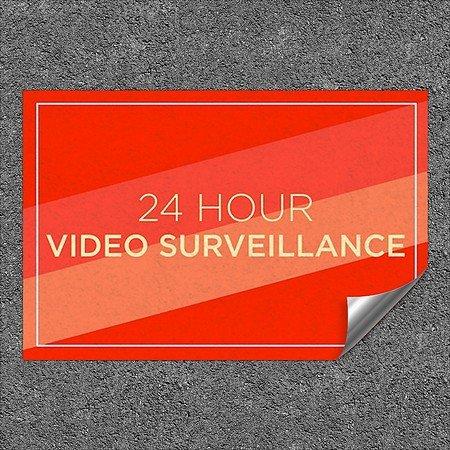 CGSignLab |''24 Hour Video Surveillance -Modern Diagonal'' Heavy-Duty Industrial Self-Adhesive Aluminum Wall Decal | 36''x24'' by CGSignLab