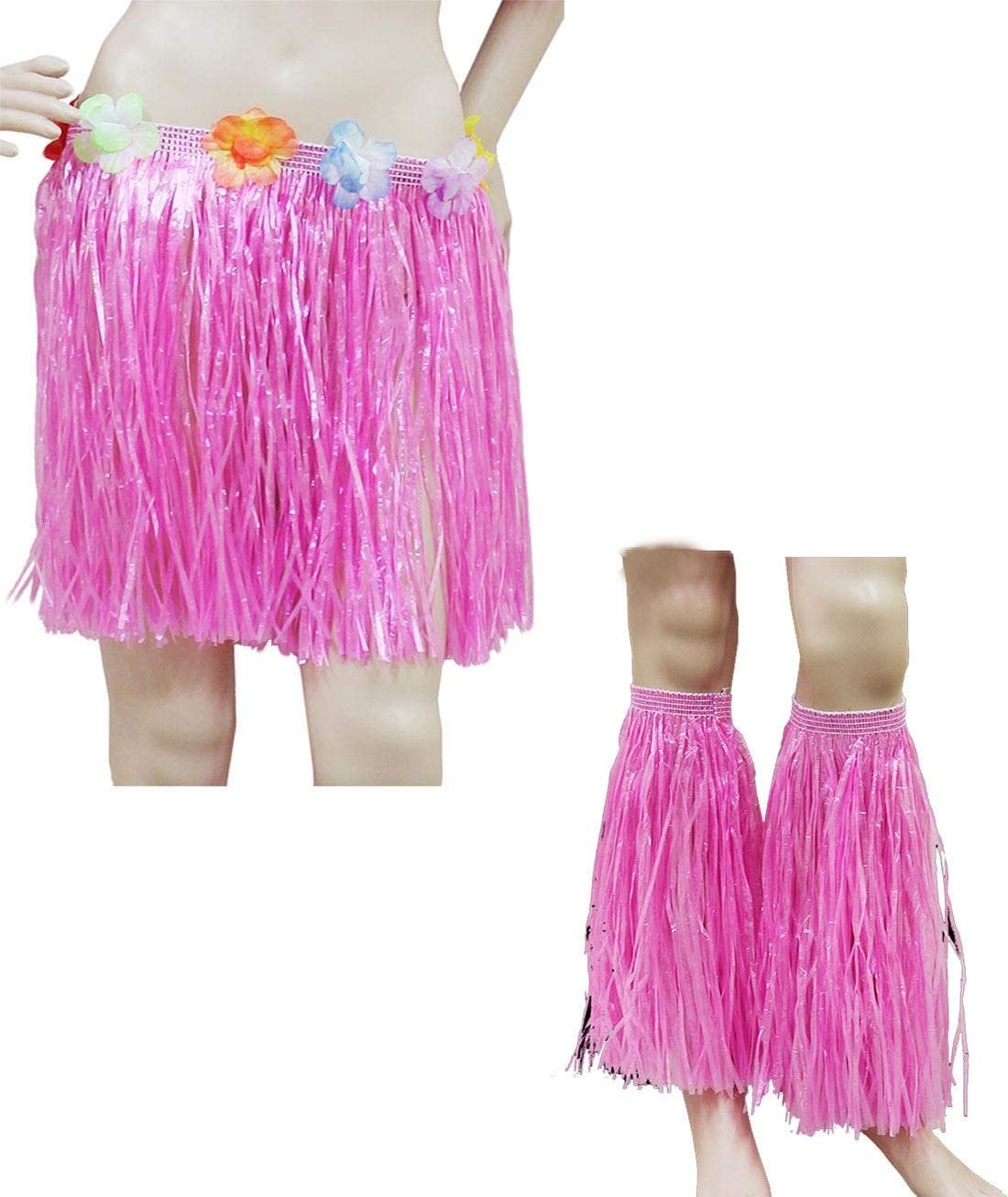 SHORT 40cm HAWAIIAN HULA SKIRT OR 4pc LEI SET LADIES LUAU FANCY DRESS COSTUME