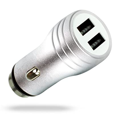 MyGadget Cargador de Coche Metálico Doble Puerto USB [2,1A/1A] para Móvil - Adaptador Automóvil ejm Samsung Galaxy Apple iPhone Table - Gris Metálico
