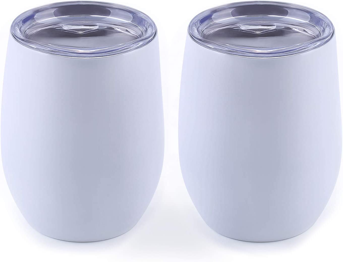WBRWP Stainless-Steel Stemless Portable Tumbler Cup : 12oz Double-Vacuum Insulated Food Grade Stainless Steel Reusable Travel Tumbler Cup Mug with Lid, 2 Pieces-White