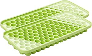 Webake Silicone Ice Cube Tray with Lid Small Ice Nugget Molds 101 Grids Mini Tiny Crushed Ice Trays 2 Pack For Chilled Drinks, Whiskey Cocktails (Stackable, BPA Free)