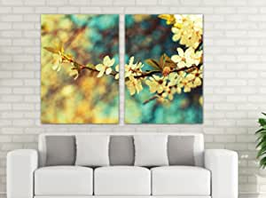 Floral And Botanical Wooden Tableau, 190x130 Cm - Set Of 2 Pieces