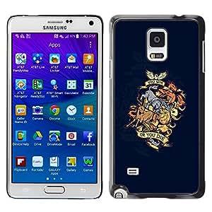 "For Samsung Galaxy Note 4 , S-type Ganas o mueres Dragón Animal Crest"" - Arte & diseño plástico duro Fundas Cover Cubre Hard Case Cover"