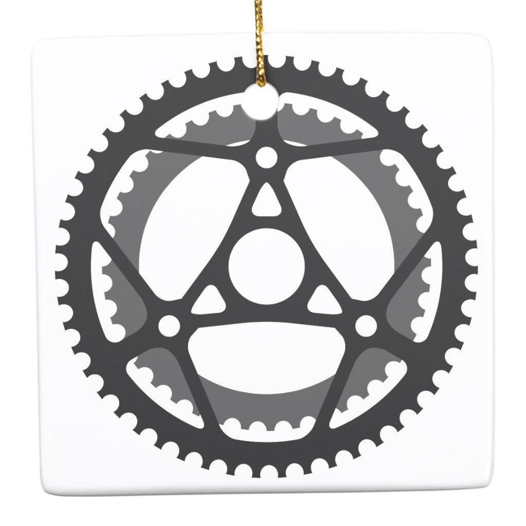 Zazzle自転車ギアセラミックオーナメント Square dd36af79-a4b9-036f-bbed-37d24c641e3b B0779PGM77