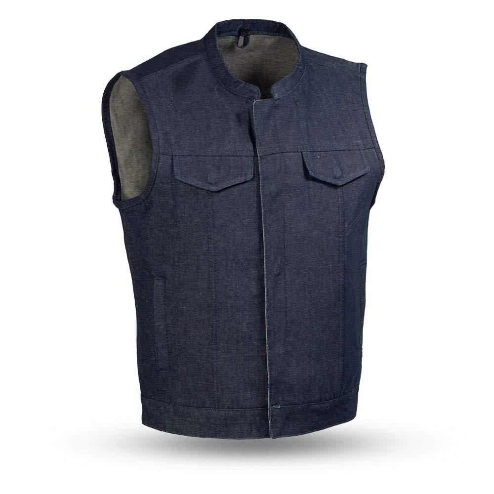 First Mfg Co Kershaw Mens Denim Mandarin Collar Vest (Blue, X-Large)
