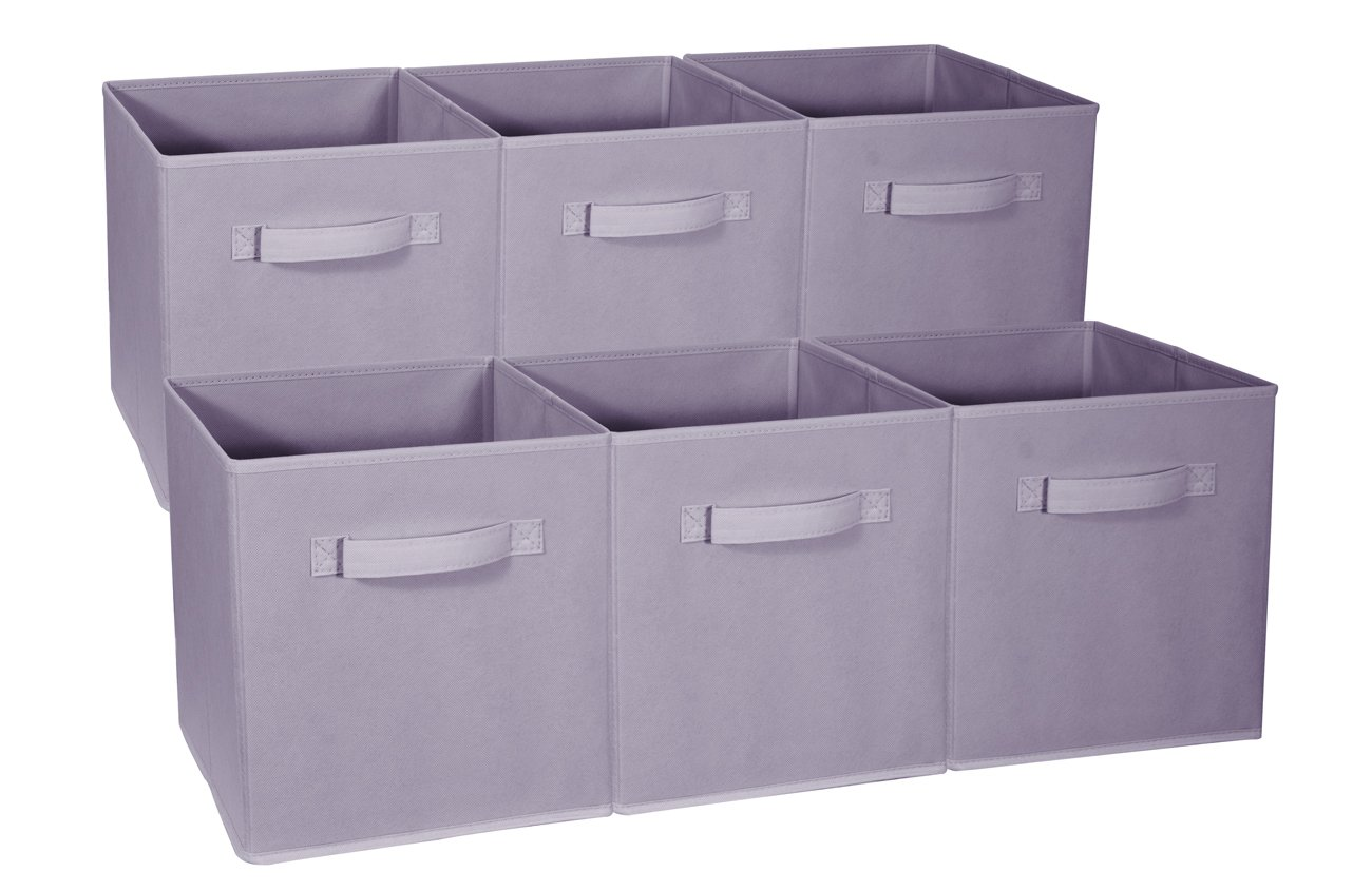 Sorbus Foldable Storage Cube Basket Bin - Great for Nursery, Playroom, Closet, Home Organization (Pastel Purple, 6 Pack)