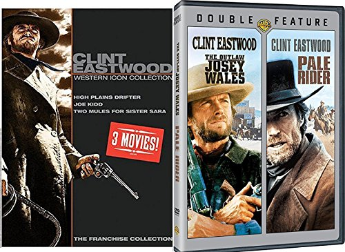 Clint Eastwood Western Icon Pale Rider + Outlaw Josey Wales / High Plains Drifter / Two Mules for Sister Sara / Joe Kidd / 5 Movie DVD Set