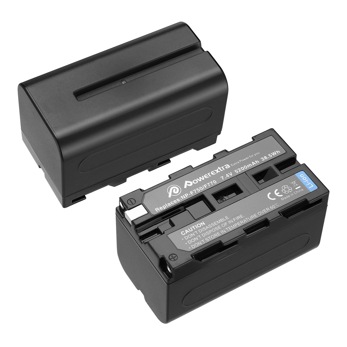 Powerextra 2 Pack Replacement Sony NP-F750 Battery for Sony NP-F730, NP-F750, NP-F760, NP-F770 Battery and Sony CCD-TRV215 CCD-TR917 CCD-TR315 HDR-FX1000 HDR-FX7 HVR-V1U HVR-Z7U HVR-Z5U Camcorder by Powerextra