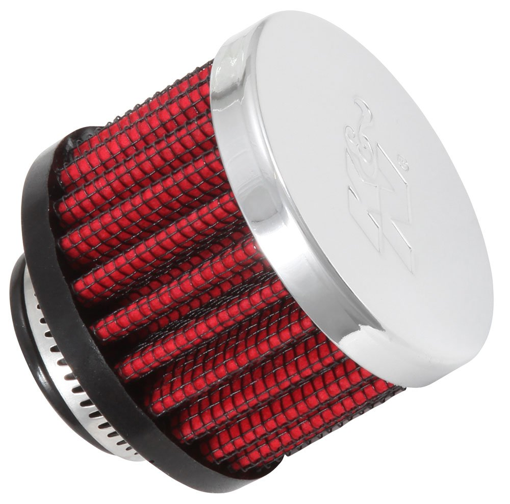 K&N 62-1360 Vent Air Filter/Breather: Vent Air Filter/Breather; 0.75 in (19 mm) Flange ID; 1.5 in (38 mm) Height; 2 in (51 mm) Base; 2 in (51 mm) Top