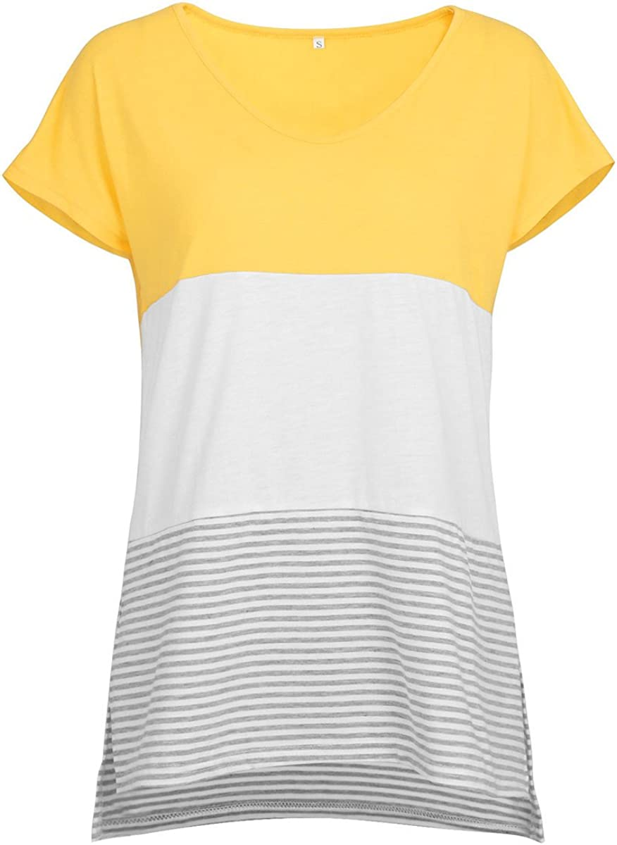 Camiseta de Manga Corta de Color Liso para Mujer.Camiseta de Rayas ...