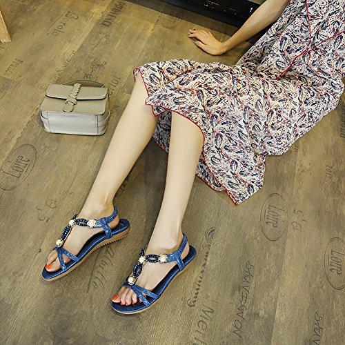 Beaded T Flower Meeshine Beach Women Dress Gladiator 06 Blue Strap Sandals Flat Shoes Htwqaqg