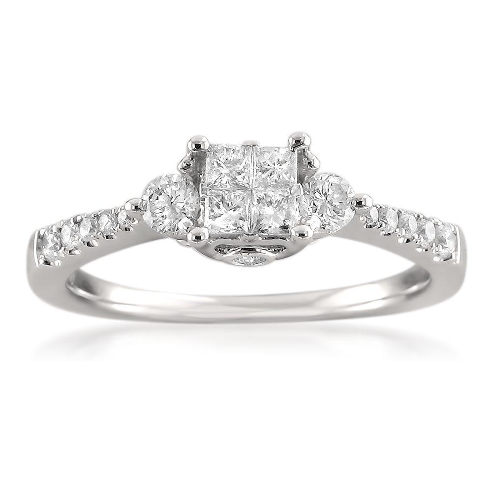 14k White Gold Princess-cut & Round Diamond Invisible-Set Engagement Ring (5/8 cttw, I-J, I1-I2), Size 4.5