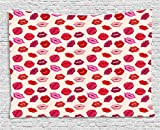 Ambesonne Kiss Tapestry, Vivid Colored Sexy Lips Glamour Fashion Cosmetics Make up Theme Girls Pattern, Wall Hanging for Bedroom Living Room Dorm, 60 W X 40 L inches, Pink Red Rose Peach