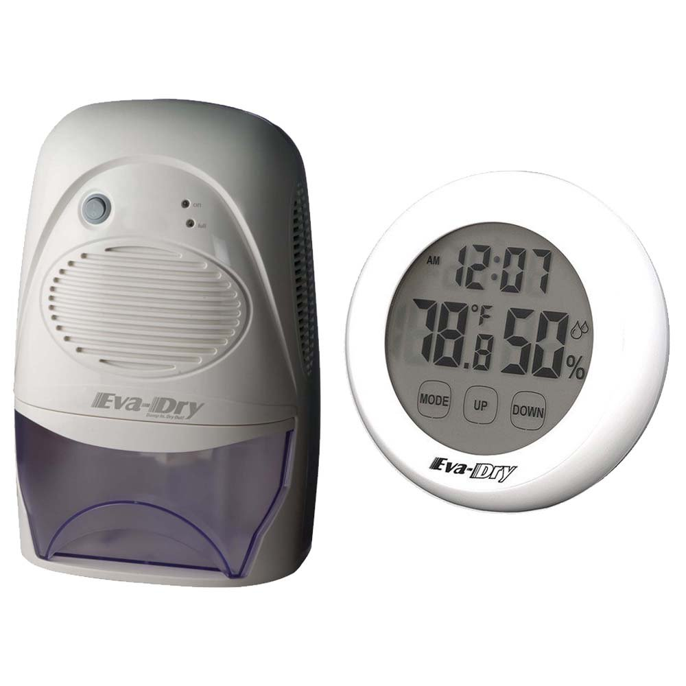 Eva-dry Edv-2200 Dehumidifier + Eva-Dry Indoor Humidity Monitor Hygrometer,White, Gray