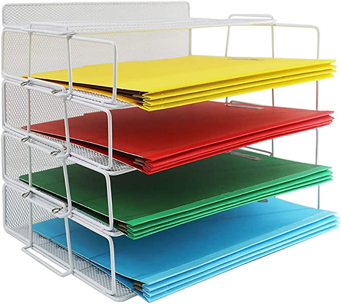 Lucycaz Letter Paper Tray 4 Tier Desktop File Organizers Office Accessories For Desk White Office Products