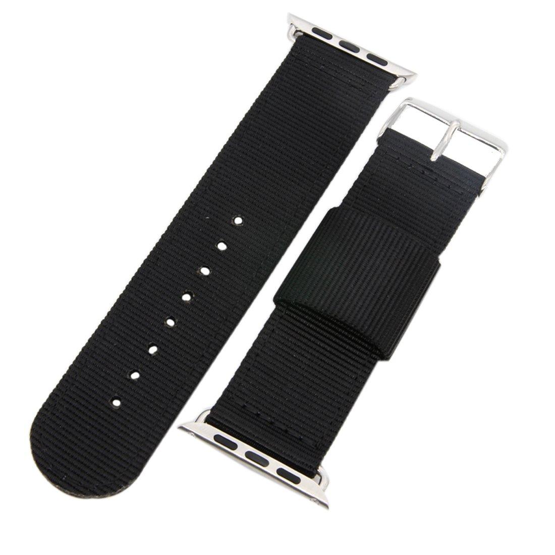 ハイエンド快適編みナイロン時計バンドストラップfor Apple Watchシリーズ1 / 2 / 3 Sport Editionブラック 42mm black with silver buckle 42mm black with silver buckle black with silver buckle 42mm B075N1GNZ7