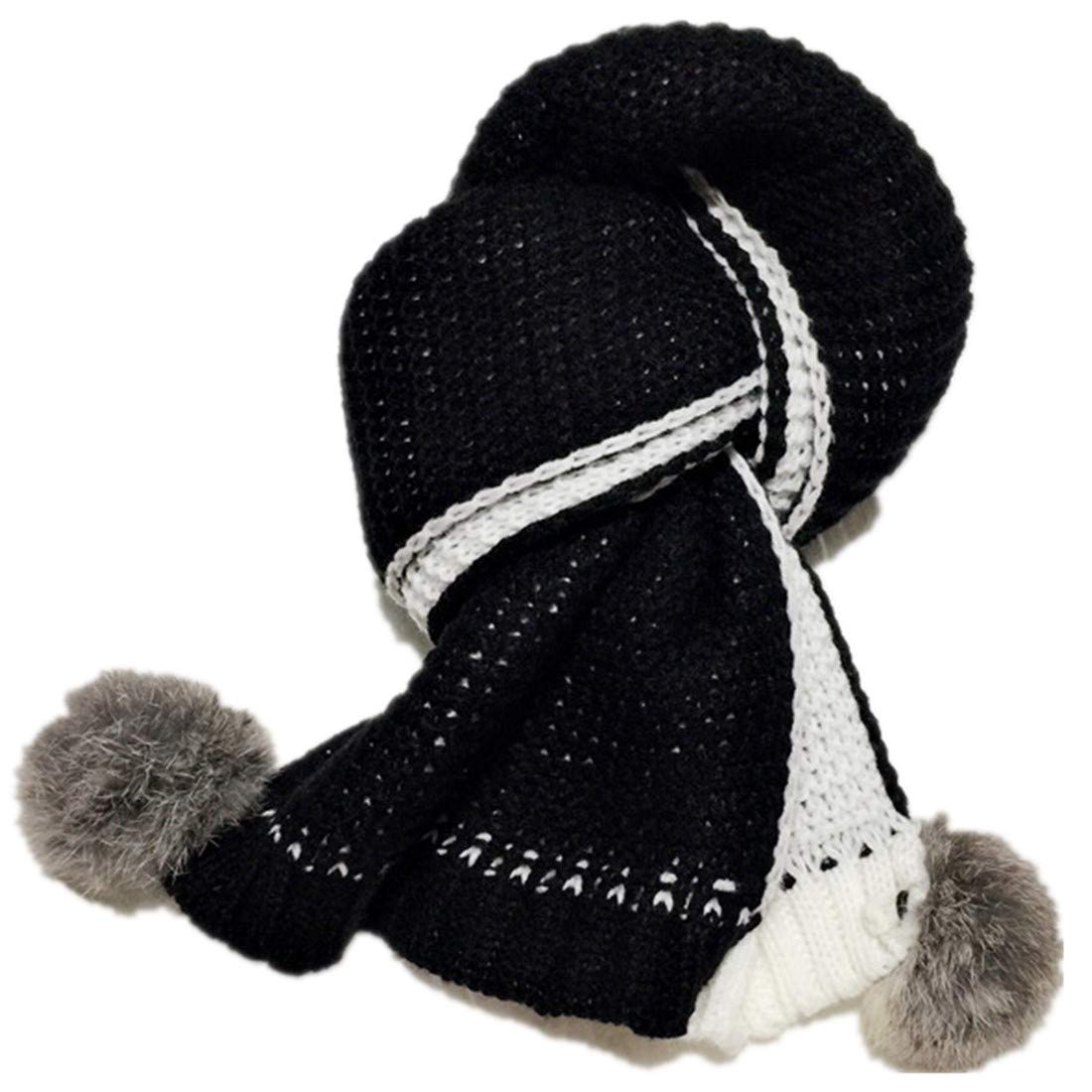 FamyFirst Toddler Boys Girls Winter Warm Knitted Thick Wool Lovely Pom Pom Scarf