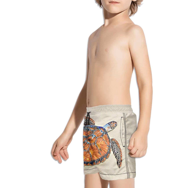 Etstk Ocean sea Animal Tortoise Turtle Kids Comfortable Swim Trunks for Boys