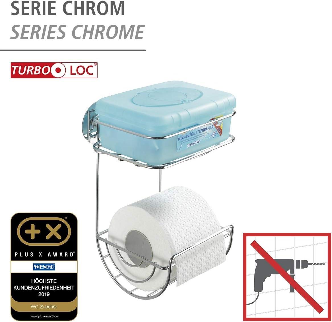 Wenko Turbo-Loc Portarrollos con Bandeja Plateado Acero 14x16.5x24.5 cm
