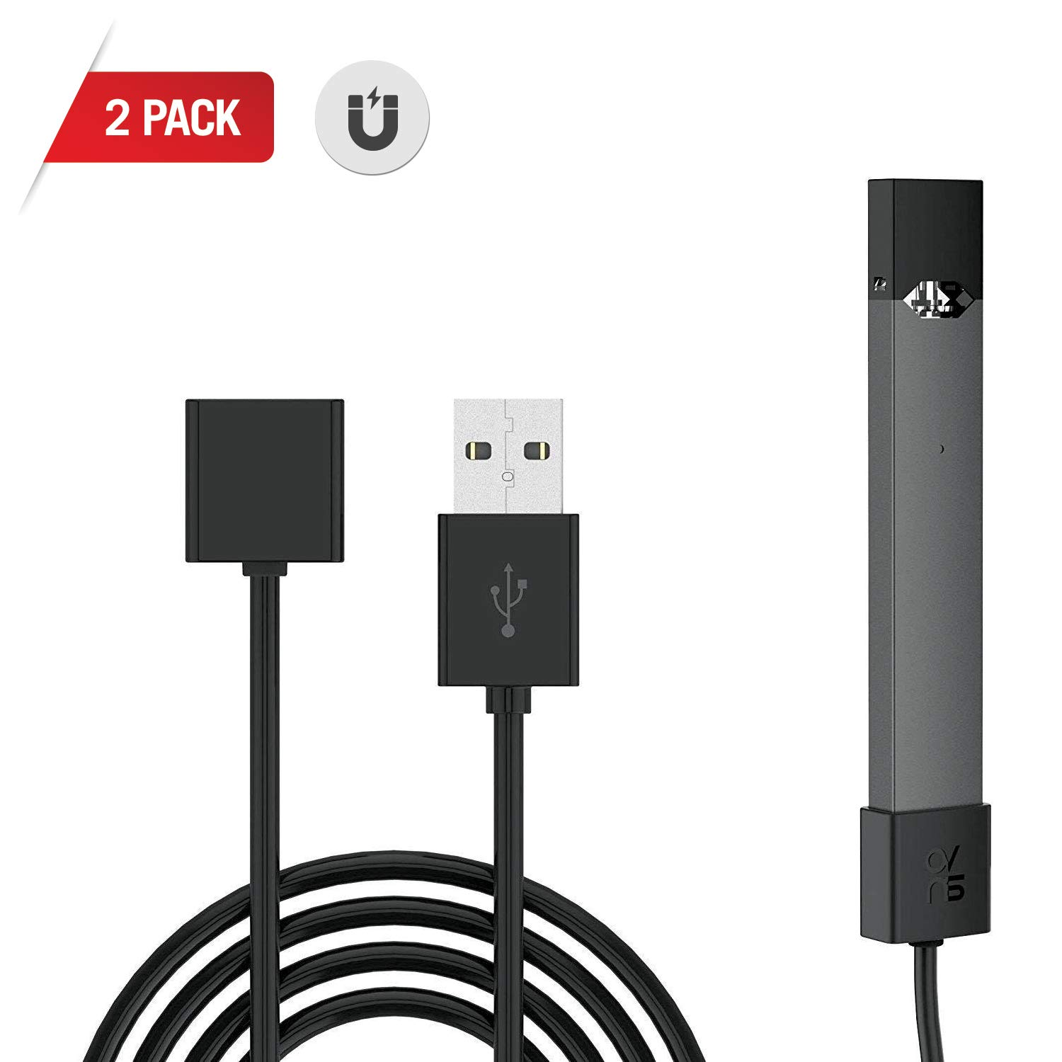 JUU L Magnetic Charger USB Cable - 2.6 Ft Cord (2 Pack)