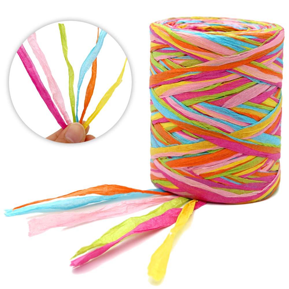1//4-Zoll-breite Verpackungsbandschnur f/ür Geschenkverpackungsdekoration 200 Meter Schnur Bast-Papierband Bast-Papier-Bast-Matte-Papierband
