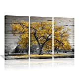 "Autumn Paintings On Canvas Yellow Maple Tree On Rustic Wood Background Painting Wall art For Home Decor Modern Fall Landscape Artwork 16""x32""x3 (Yellow)"