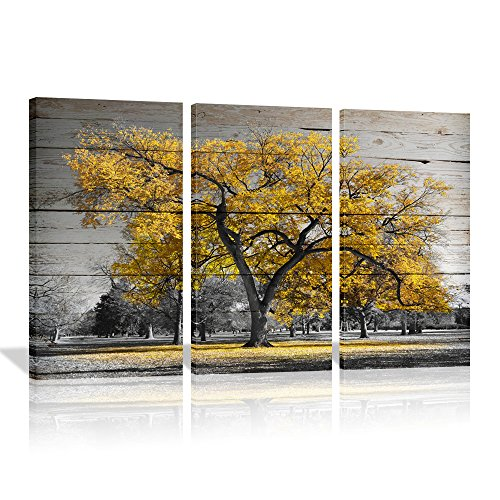 """Autumn Paintings On Canvas Yellow Maple Tree On Rustic Wood Background Painting Wall art For Home Decor Modern Fall Landscape Artwork 16""""x32""""x3 (Yellow)"""