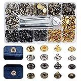 Broches de Presión Metálicos Broche Costura Kit de Sujetadores Botones con Herramientas de Fijación 4 color Sewing Snaps para Ropa Jeans Cuero Chaqueta Bolsos Bolsas Leather Snap Fasteners