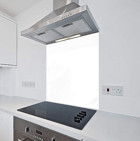Protector antisalpicaduras de cristal para cocinas de Colour2Glass, color blanco, 6 mm de espesor resistente al calor, vidrio templado 700 x 750mm blanco: Amazon.es: Hogar