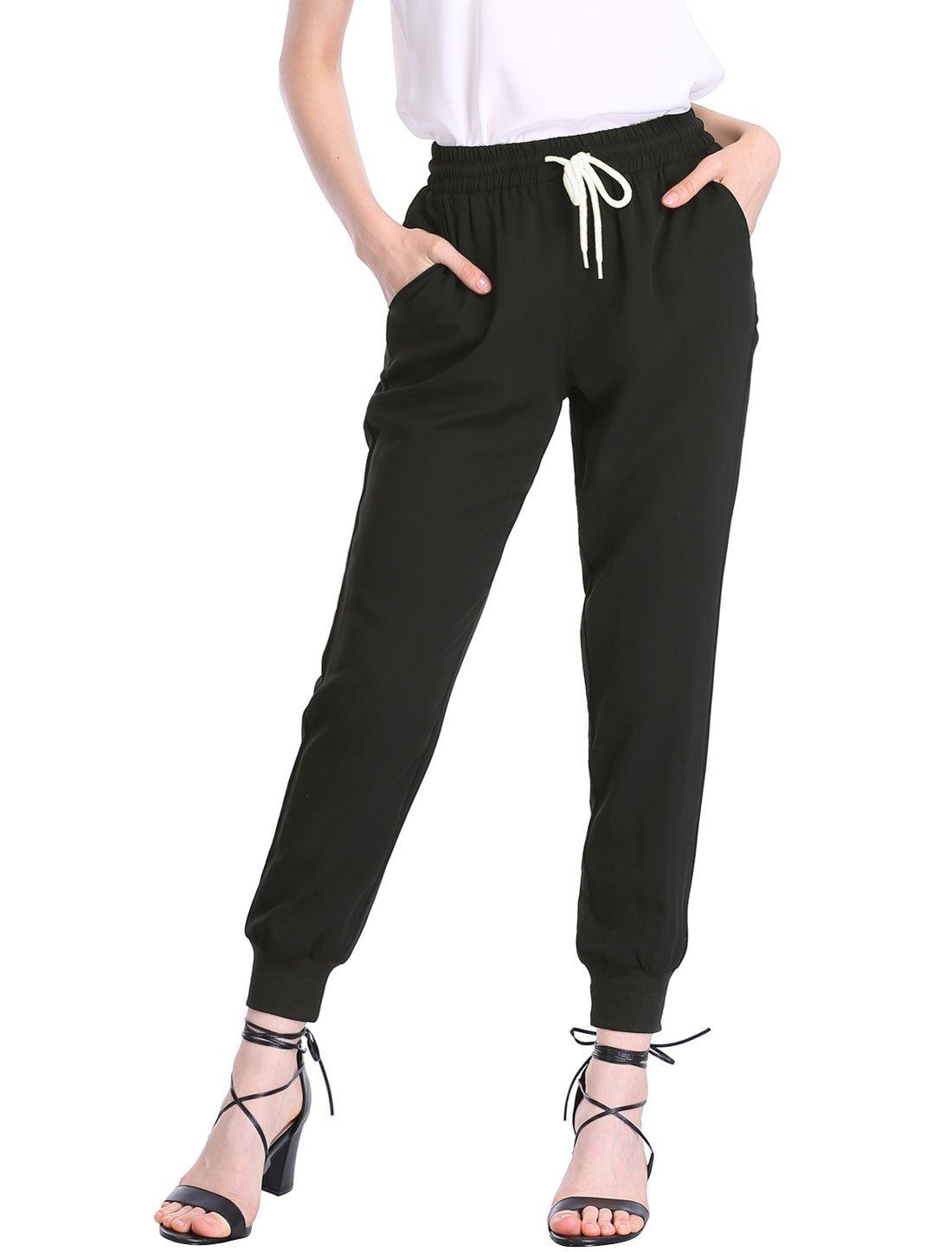 Allegra K Women's Drawstring Elastic Waist Cropped Jogger Pants Black XS