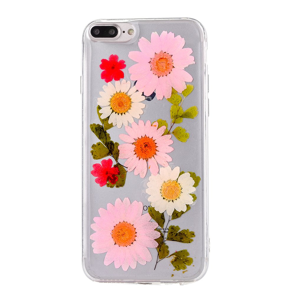 Pretty flower case for iphone 7 plus tipfly iphone 8 plus real pressed dry flowers cover slim cute clear flexible rubber shell protective for iphone 7
