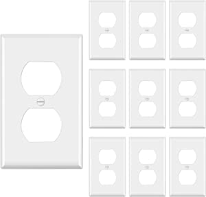 [10 Pack] BESTTEN 1-Gang Duplex Wall Plate, Standard Size, Unbreakable Polycarbonate Outlet and Switch Cover, UL Listed, White