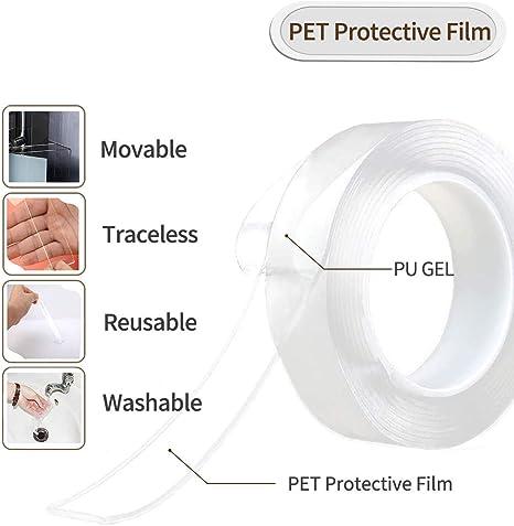 Qisiewell Waschbares Spurloses Transparent Klebeband 3M 9.84 ft Multifunktionales Doppelseitiges Klebeband Nano Entfernbares Klebeband Wiederverwendbares Rutschfeste f/ür W/ände K/üche(3M 2MM) 3CM