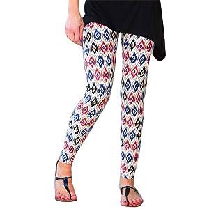 HANYI Fashion Women Skinny Tribal Deer Printed Stretchy Pants Leggings (L, Blue)