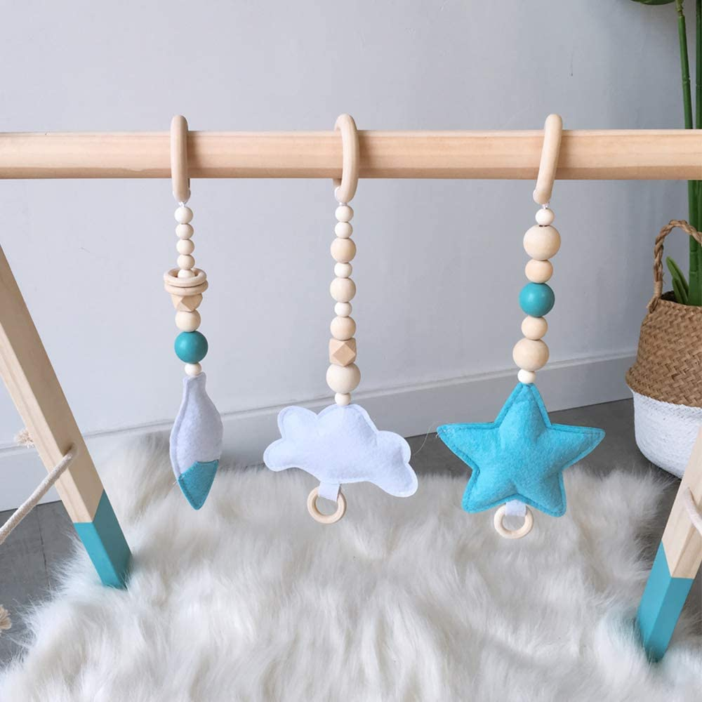 3PC Teethers Newborn Rattle Rings Sensory Toy Activity Gift Black Frame HB.YE Baby Wooden Play Gym with 3PC Pendant Toys Handmade Wooden Foldable Frame