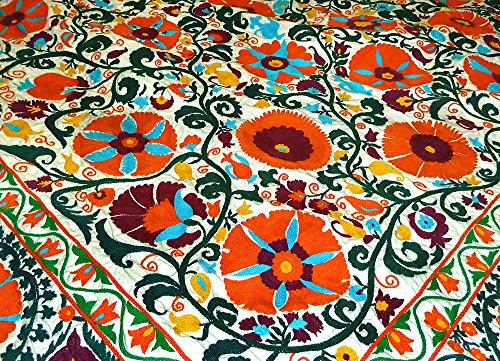 TRADITIONAL LARGE GORGEOUS UZBEK FULLY HANDMADE EMBROIDERY SUZANI BUKHARA A8237 by Generic