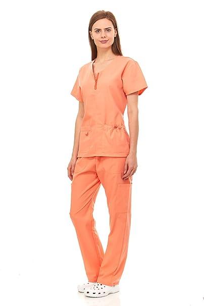 db055c1b04a Denice Womens Medical Uniforms Mackenzie Zip Neckline Nurses Scrubs Set  1054 (Medium, Orange)