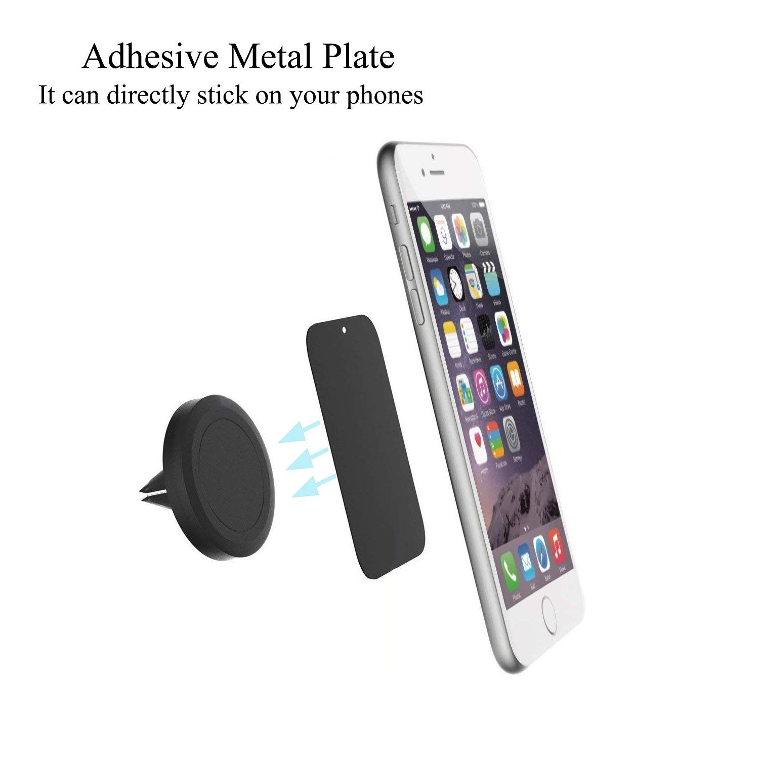 8PACK Metal Plates with Full Adhesive for Magnetic Car Mount Phone Holder Uuustar Metal Plates for Magnetic Mount