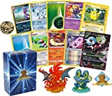 50 Assorted Pokemon Card Pack Lot - Featuring 1 Random Pokemon Figure, 1 Coin, 1 Mega Ultra Rare! Foils Rares Energy! Includes Golden Groundhog Deck Box!