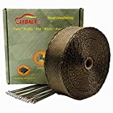 LEDAUT 2'' x 50' Twill Weave Motorcycle ATV Titanium Exhaust Heat Shield Wrap with 11.8'' Locking Ties (Pack of 15)