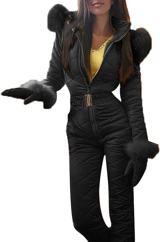 Women Winter Onesies Ski Jumpsuit Outdoor Sports Snowsuit Fur Collar Coat Jumpsuit with Hoodies Removable