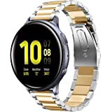 Shangpule Compatible for Galaxy Watch Active 2 40mm Bands, Active2 44mm Band, 20mm Stainless Steel Strap Compatible for Samsung Galaxy Active 2 (Silver + Gold)