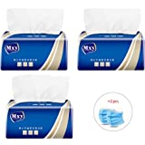 Soft Facial Tissues 4-Ply Thicken Natural Unscented Quilted Toilet Tissues 300 Sheets x 3Packs