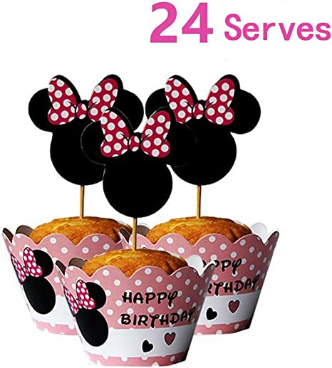 Excellent Amazon Com 24 Serves Mickey Mouse Minnie Cupcake Toppers And Funny Birthday Cards Online Inifodamsfinfo